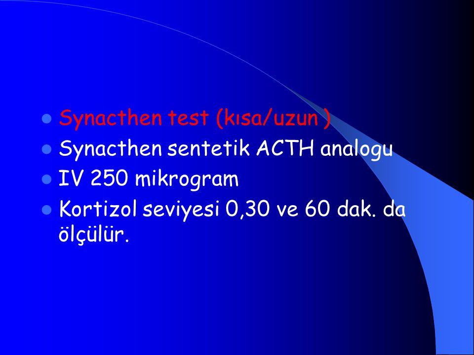 Synacthen test (kısa/uzun ) Synacthen sentetik ACTH analogu IV 250 mikrogram Kortizol seviyesi 0,30 ve 60 dak. da ölçülür.