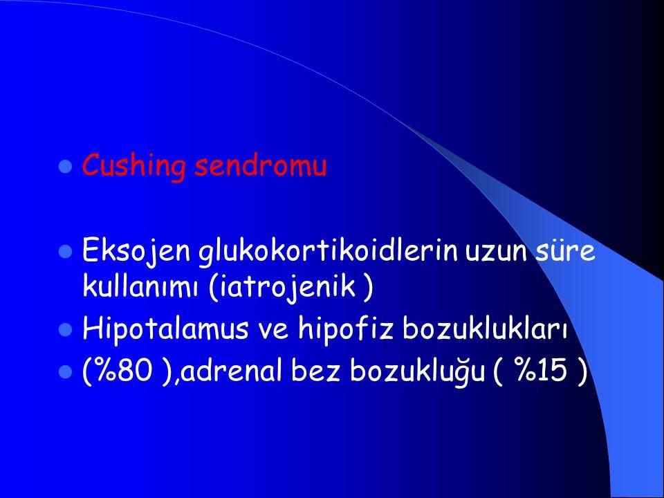 Cushing sendromu Eksojen glukokortikoidlerin uzun süre kullanımı (iatrojenik ) Hipotalamus ve hipofiz bozuklukları (%80 ),adrenal bez bozukluğu ( %15