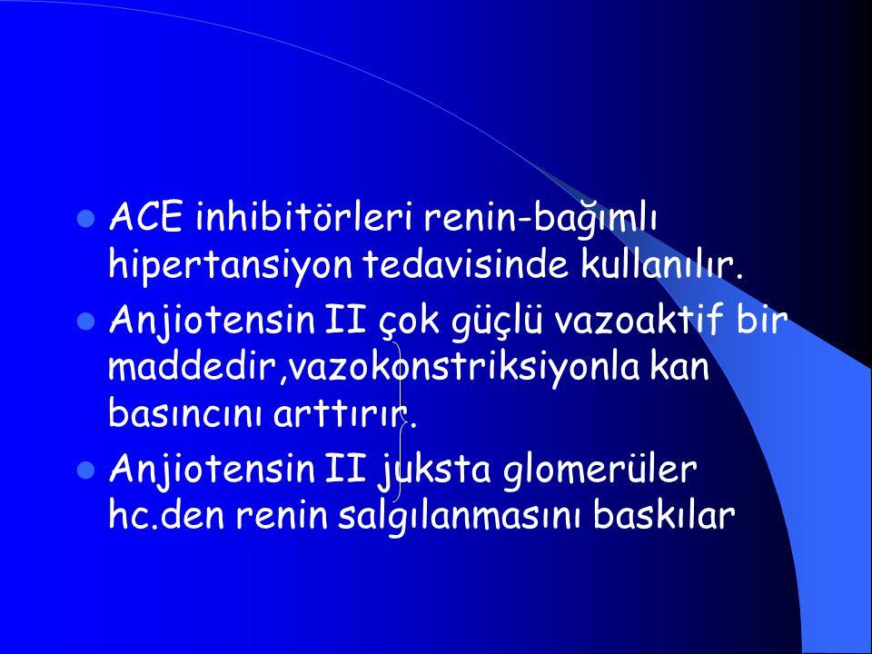 ACE inhibitörleri renin-bağımlı hipertansiyon tedavisinde kullanılır. Anjiotensin II çok güçlü vazoaktif bir maddedir,vazokonstriksiyonla kan basıncın