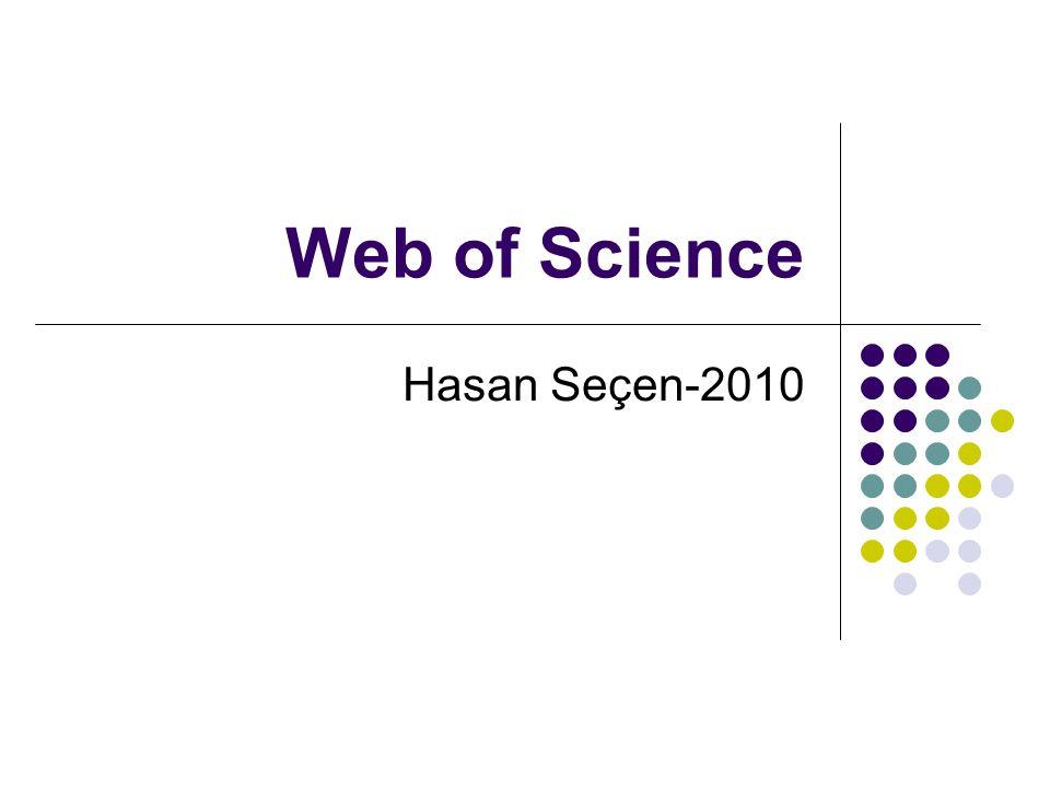 Web of Science Hasan Seçen-2010