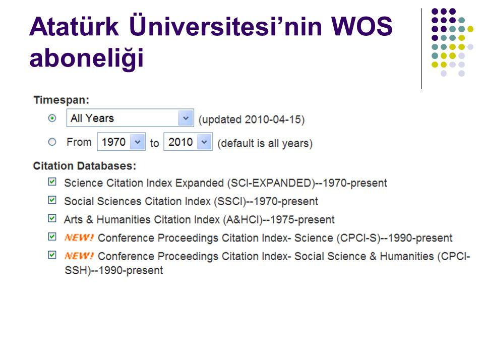 Atatürk Üniversitesi'nin WOS aboneliği