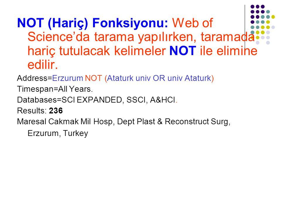NOT (Hariç) Fonksiyonu: Web of Science'da tarama yapılırken, taramada hariç tutulacak kelimeler NOT ile elimine edilir.