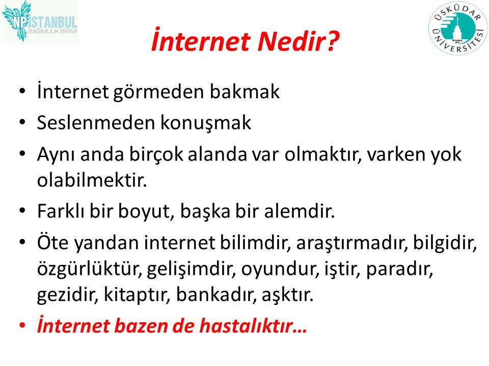 İnternet Nedir? İnternet görmeden bakmak Seslenmeden konuşmak Aynı anda birçok alanda var olmaktır, varken yok olabilmektir. Farklı bir boyut, başka b