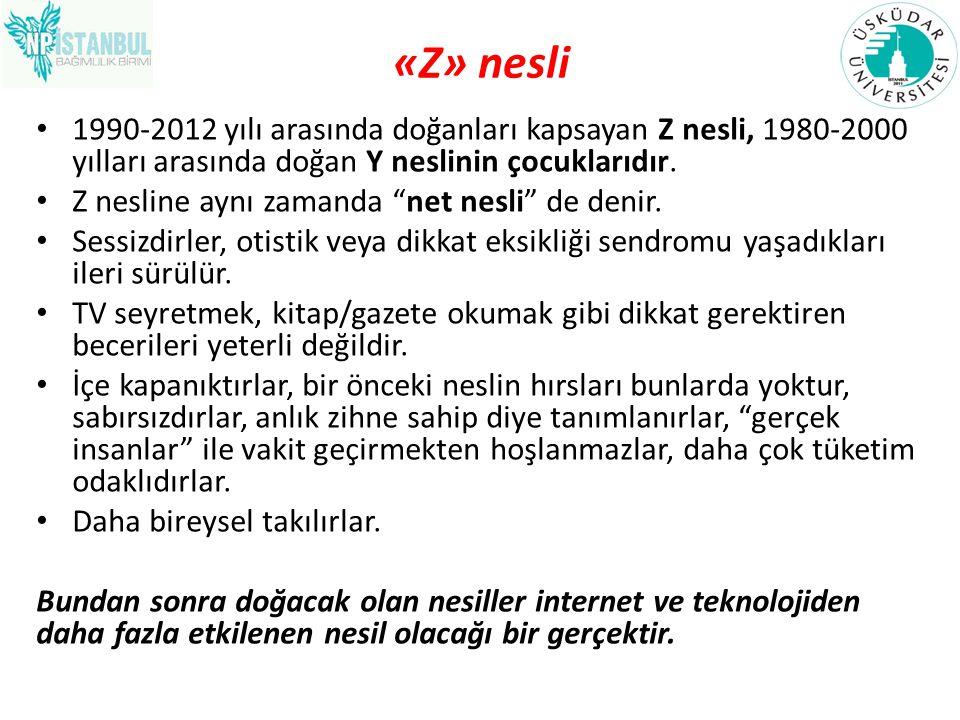 """«Z» nesli 1990-2012 yılı arasında doğanları kapsayan Z nesli, 1980-2000 yılları arasında doğan Y neslinin çocuklarıdır. Z nesline aynı zamanda """"net ne"""