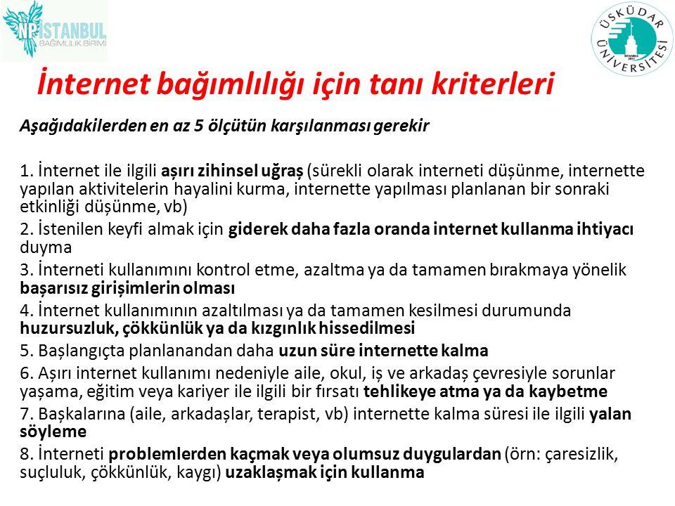 İnternet bağımlılığı için tanı kriterleri Aşağıdakilerden en az 5 ölçütün karşılanması gerekir 1. İnternet ile ilgili așırı zihinsel uğraș (sürekli ol