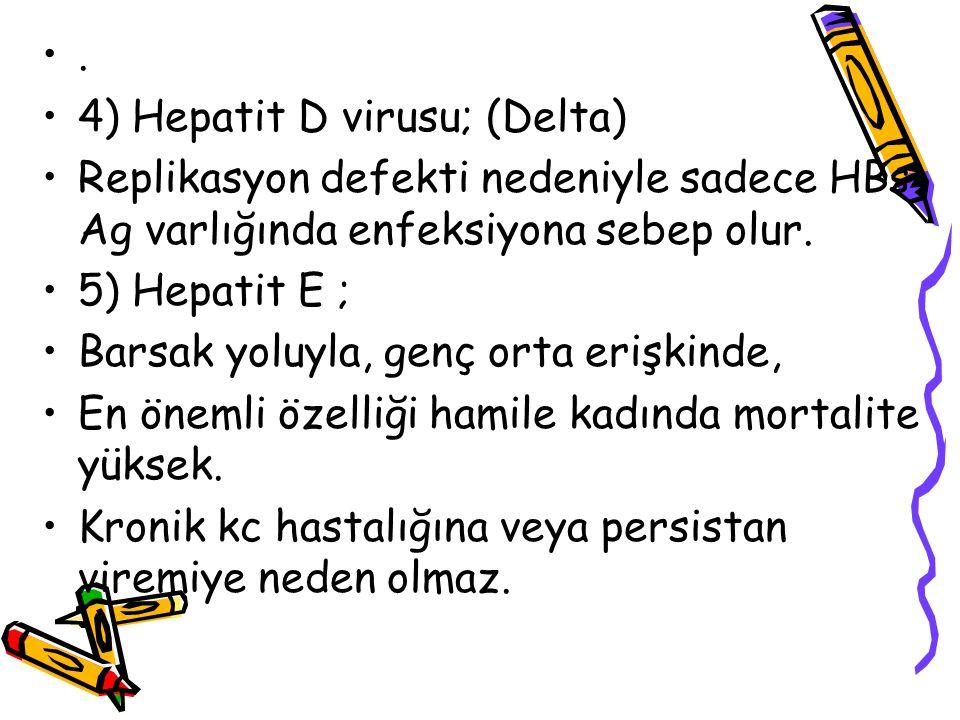 . 4) Hepatit D virusu; (Delta) Replikasyon defekti nedeniyle sadece HBs Ag varlığında enfeksiyona sebep olur. 5) Hepatit E ; Barsak yoluyla, genç orta