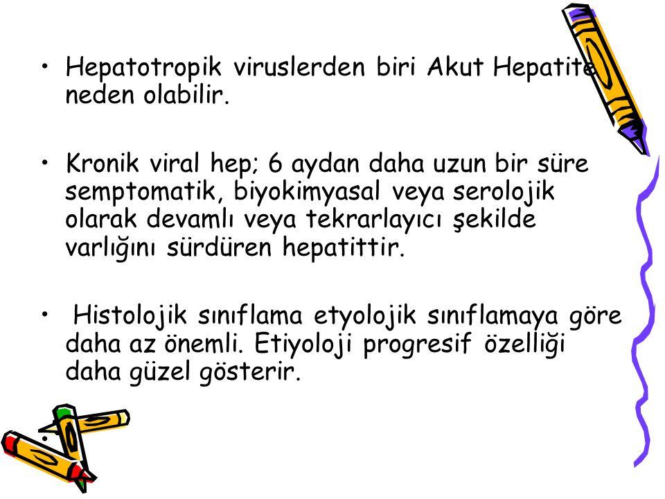 Hepatotropik viruslerden biri Akut Hepatite neden olabilir. Kronik viral hep; 6 aydan daha uzun bir süre semptomatik, biyokimyasal veya serolojik olar
