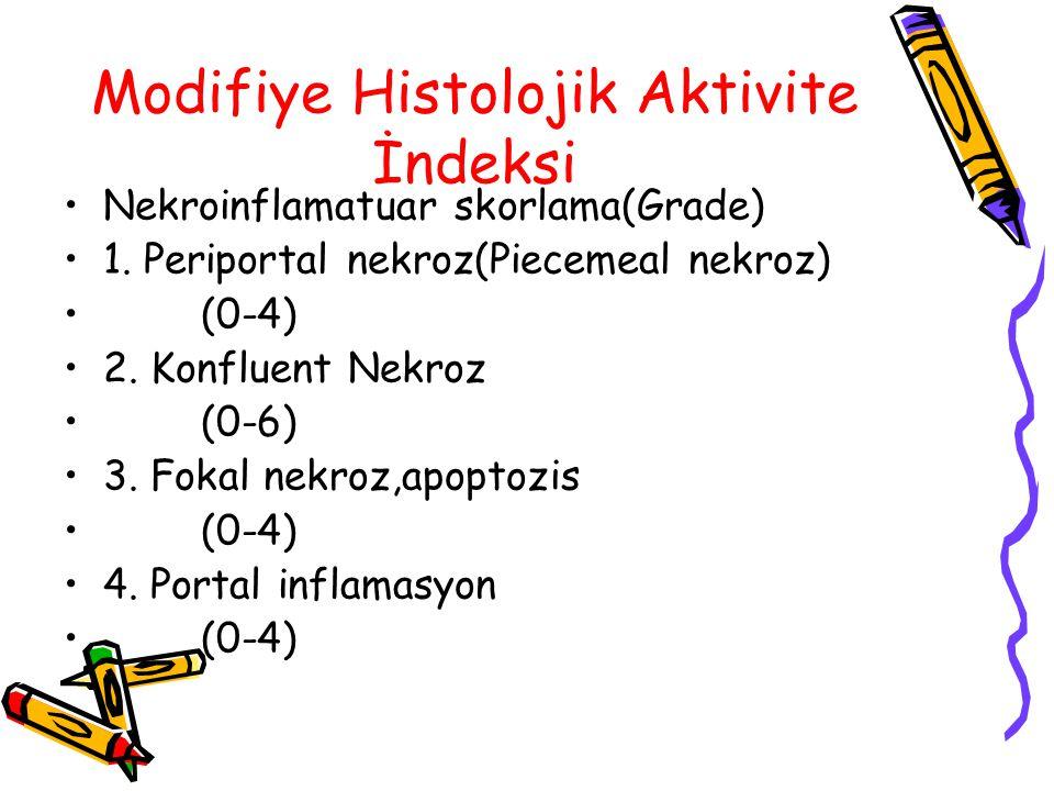 Modifiye Histolojik Aktivite İndeksi Nekroinflamatuar skorlama(Grade) 1. Periportal nekroz(Piecemeal nekroz) (0-4) 2. Konfluent Nekroz (0-6) 3. Fokal
