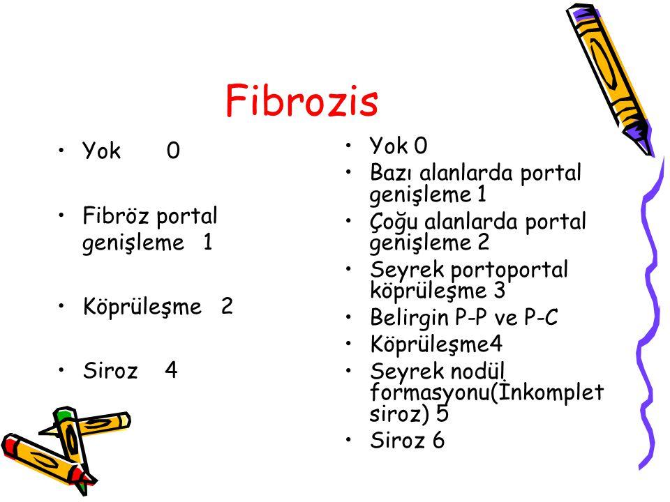 Fibrozis Yok 0 Fibröz portal genişleme 1 Köprüleşme 2 Siroz 4 Yok 0 Bazı alanlarda portal genişleme 1 Çoğu alanlarda portal genişleme 2 Seyrek portopo