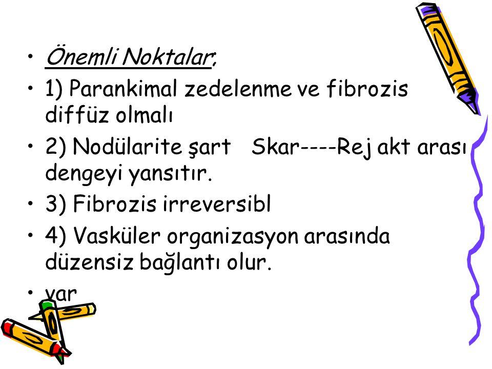 Önemli Noktalar; 1) Parankimal zedelenme ve fibrozis diffüz olmalı 2) Nodülarite şart Skar----Rej akt arası dengeyi yansıtır. 3) Fibrozis irreversibl