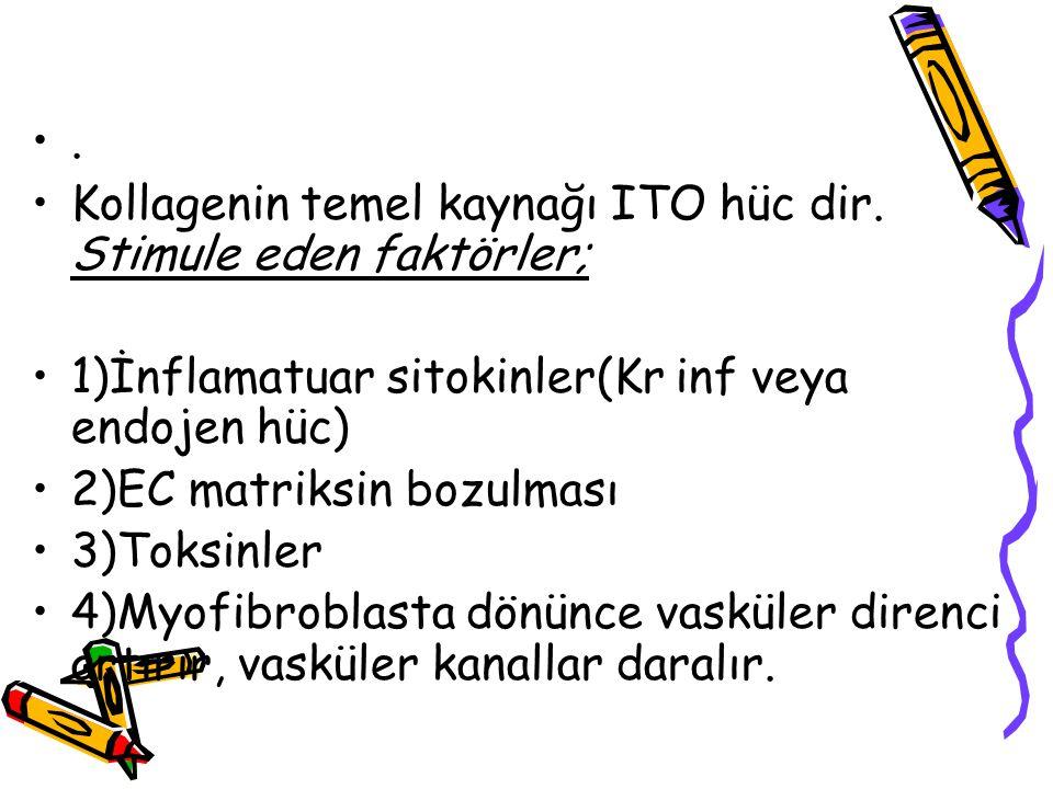 . Kollagenin temel kaynağı ITO hüc dir. Stimule eden faktörler; 1)İnflamatuar sitokinler(Kr inf veya endojen hüc) 2)EC matriksin bozulması 3)Toksinler