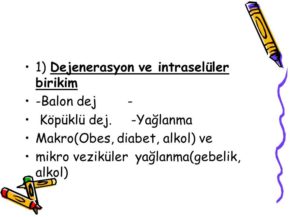 1) Dejenerasyon ve intraselüler birikim -Balon dej - Köpüklü dej. -Yağlanma Makro(Obes, diabet, alkol) ve mikro veziküler yağlanma(gebelik, alkol)