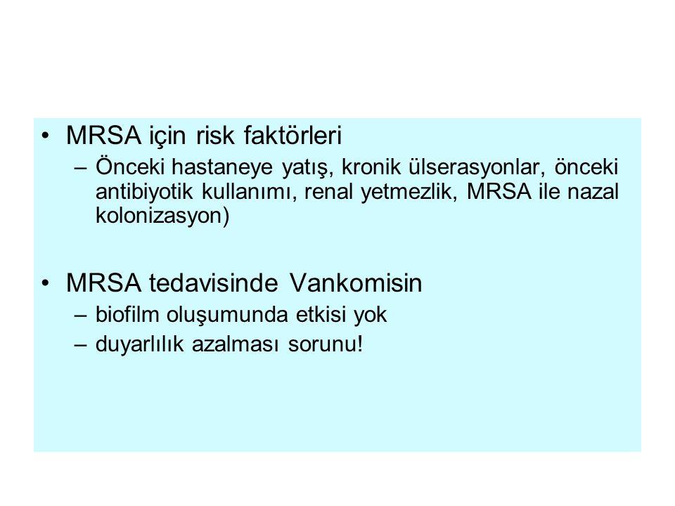 MRSA için risk faktörleri –Önceki hastaneye yatış, kronik ülserasyonlar, önceki antibiyotik kullanımı, renal yetmezlik, MRSA ile nazal kolonizasyon) MRSA tedavisinde Vankomisin –biofilm oluşumunda etkisi yok –duyarlılık azalması sorunu!