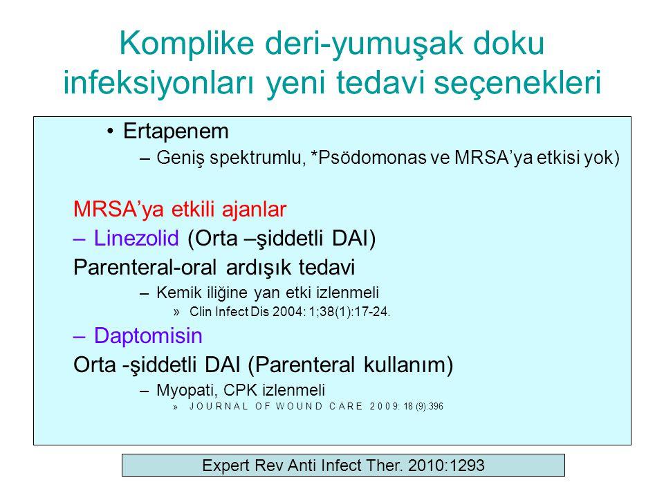 Komplike deri-yumuşak doku infeksiyonları yeni tedavi seçenekleri Ertapenem –Geniş spektrumlu, *Psödomonas ve MRSA'ya etkisi yok) MRSA'ya etkili ajanl