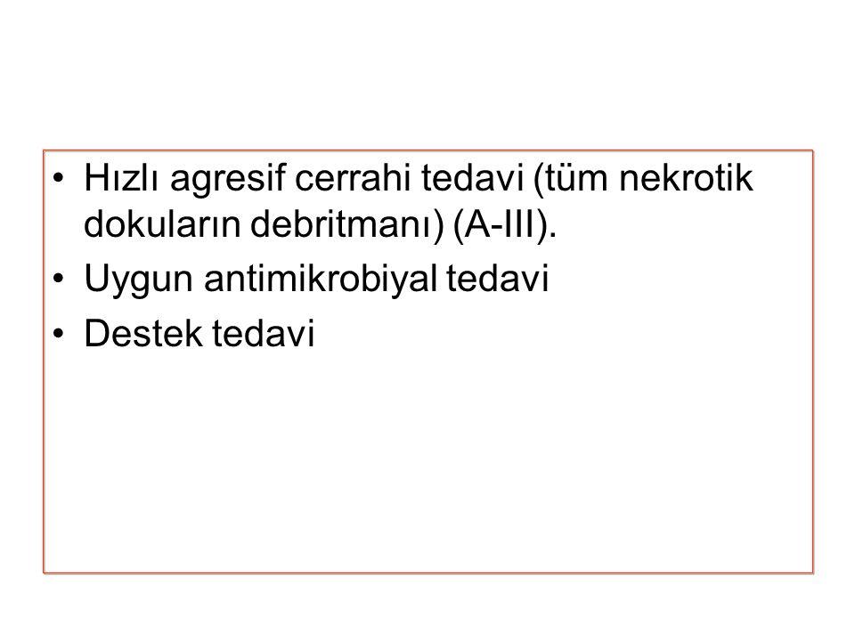 Hızlı agresif cerrahi tedavi (tüm nekrotik dokuların debritmanı) (A-III). Uygun antimikrobiyal tedavi Destek tedavi