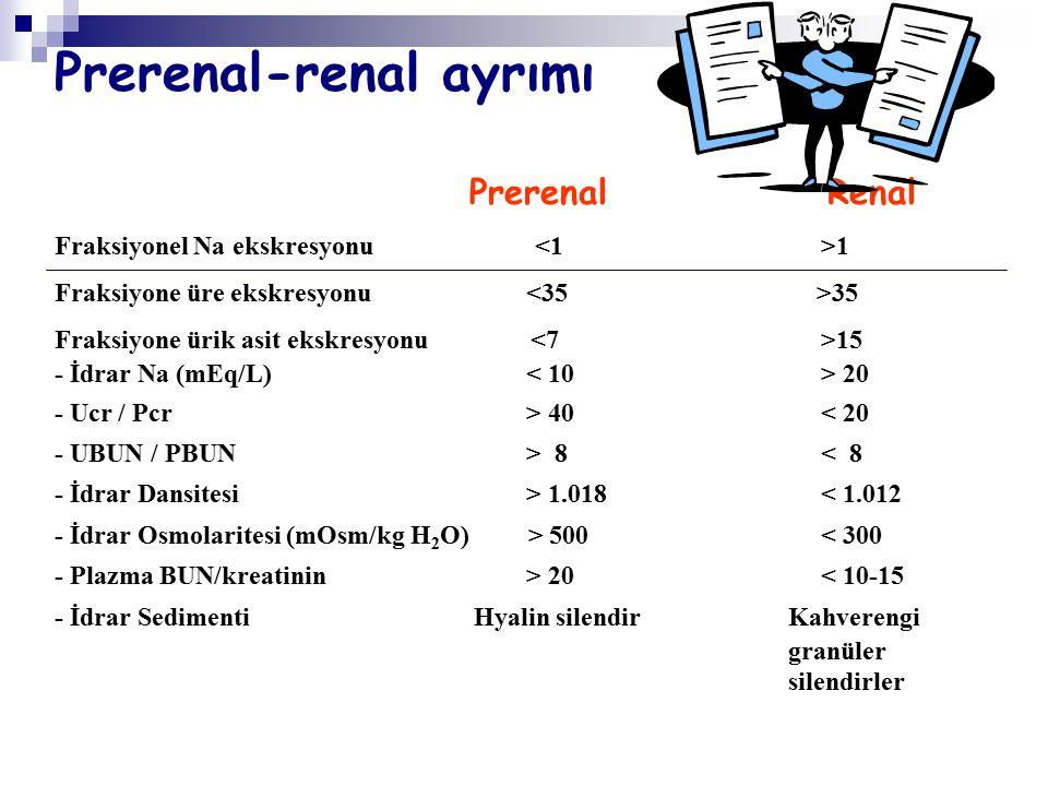 Prerenal-renal ayrmı Altın standart sıvı verilmesi ile 24-48 saatte böbrek fonksiyonlarının normale dönmesidir.