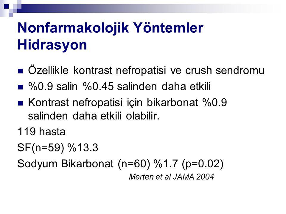 Kontrast nefropatisi önlenmesi için Hidrasyon1-2ml/kg 3-12 saat önce Hedef idrar çıkışının 150ml/saat üstünde olması Septik Hastalarda Hedef CVP 8-12 mmHg