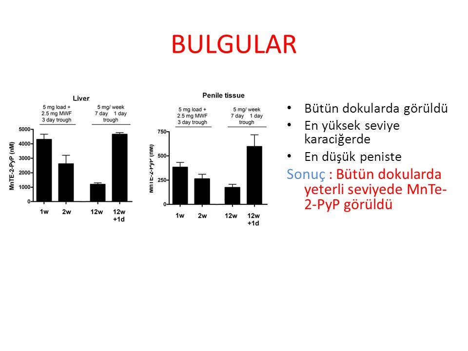 BULGULAR Bütün dokularda görüldü En yüksek seviye karaciğerde En düşük peniste Sonuç : Bütün dokularda yeterli seviyede MnTe- 2-PyP görüldü