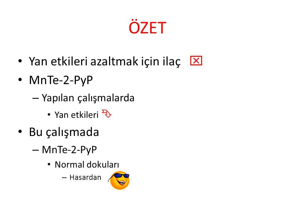 ÖZET Yan etkileri azaltmak için ilaç  MnTe-2-PyP – Yapılan çalışmalarda Yan etkileri  Bu çalışmada – MnTe-2-PyP Normal dokuları – Hasardan