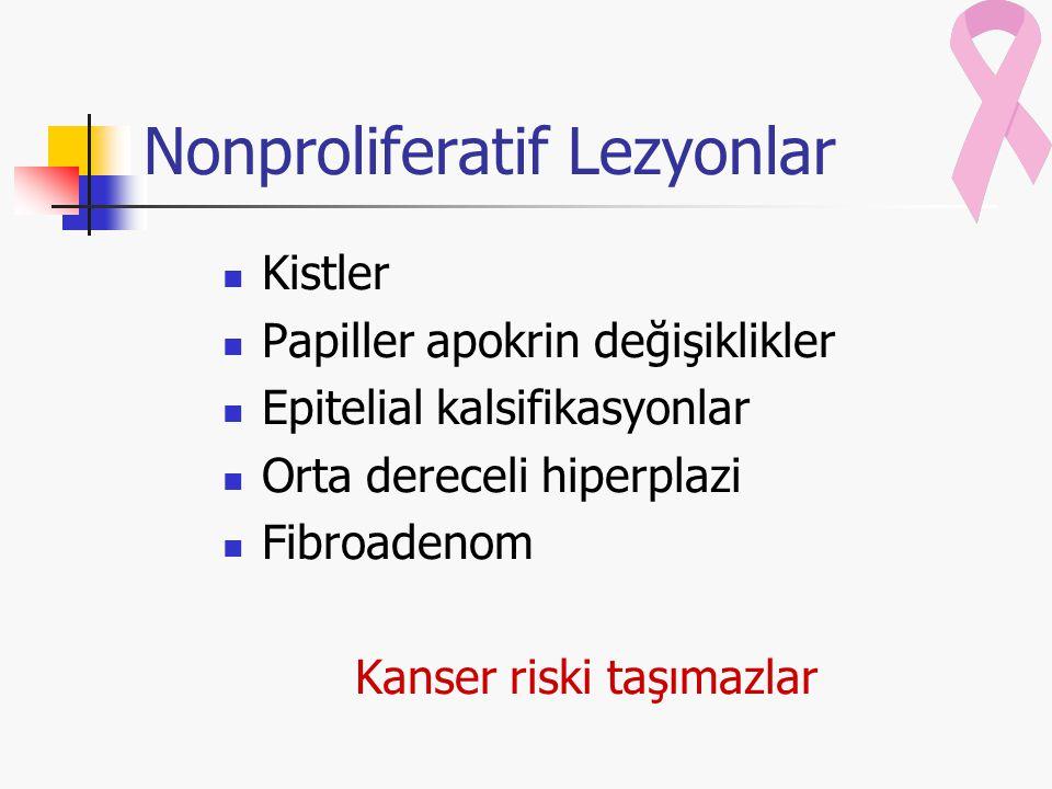 Nonproliferatif Lezyonlar Kistler Papiller apokrin değişiklikler Epitelial kalsifikasyonlar Orta dereceli hiperplazi Fibroadenom Kanser riski taşımazl