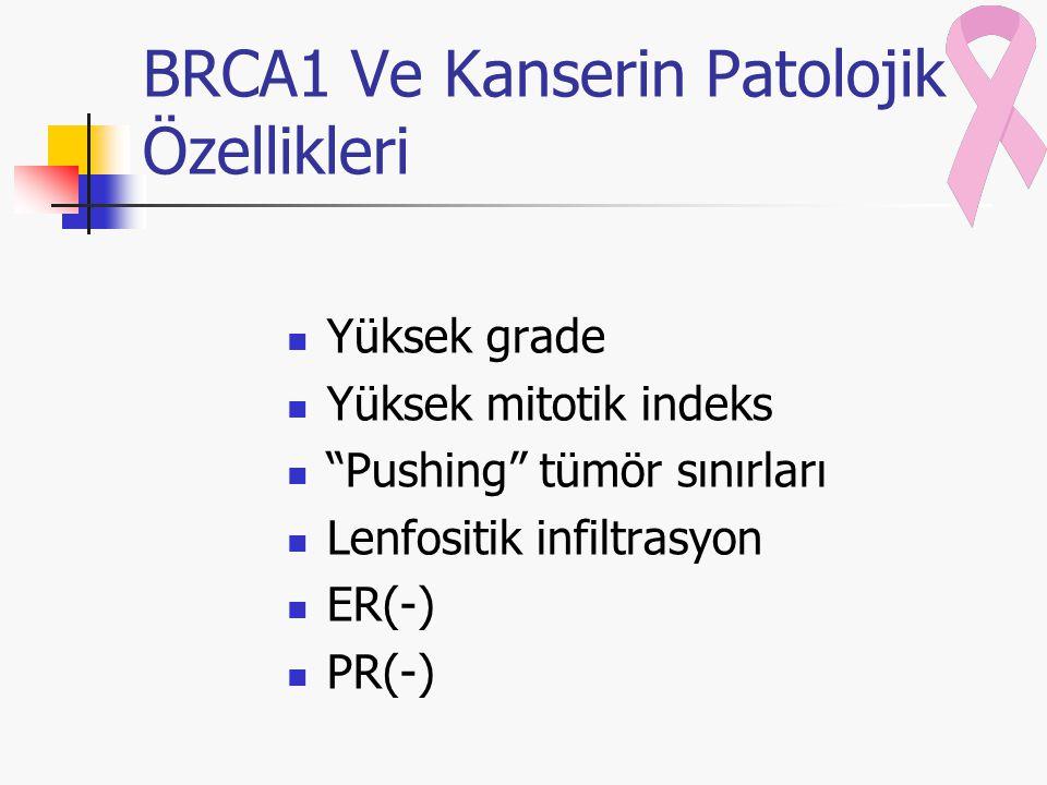 BRCA1 Ve Kanserin Patolojik Özellikleri Yüksek grade Yüksek mitotik indeks Pushing tümör sınırları Lenfositik infiltrasyon ER(-) PR(-)