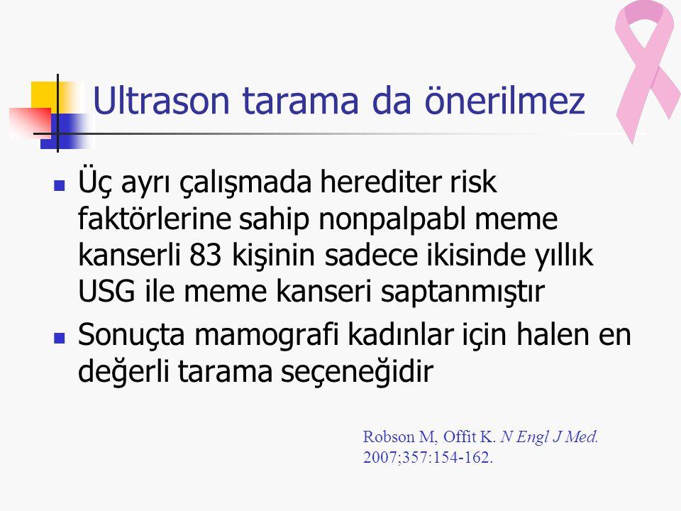 Ultrason tarama da önerilmez Üç ayrı çalışmada herediter risk faktörlerine sahip nonpalpabl meme kanserli 83 kişinin sadece ikisinde yıllık USG ile meme kanseri saptanmıştır Sonuçta mamografi kadınlar için halen en değerli tarama seçeneğidir Robson M, Offit K.