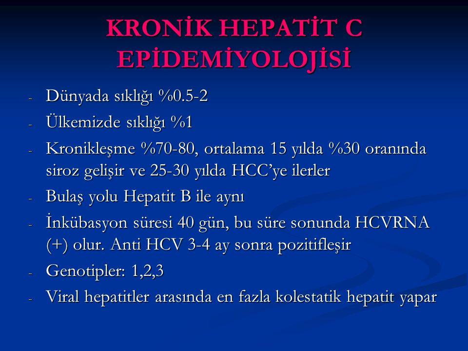 KRONİK HEPATİT C EPİDEMİYOLOJİSİ - Dünyada sıklığı %0.5-2 - Ülkemizde sıklığı %1 - Kronikleşme %70-80, ortalama 15 yılda %30 oranında siroz gelişir ve 25-30 yılda HCC'ye ilerler - Bulaş yolu Hepatit B ile aynı - İnkübasyon süresi 40 gün, bu süre sonunda HCVRNA (+) olur.