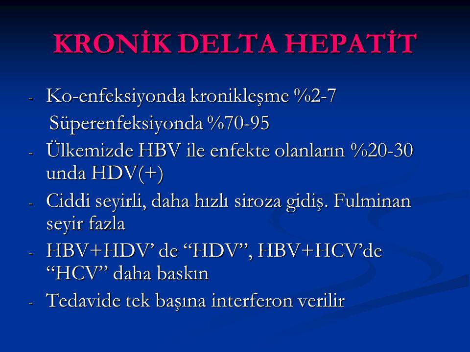 - Ko-enfeksiyonda kronikleşme %2-7 Süperenfeksiyonda %70-95 Süperenfeksiyonda %70-95 - Ülkemizde HBV ile enfekte olanların %20-30 unda HDV(+) - Ciddi seyirli, daha hızlı siroza gidiş.