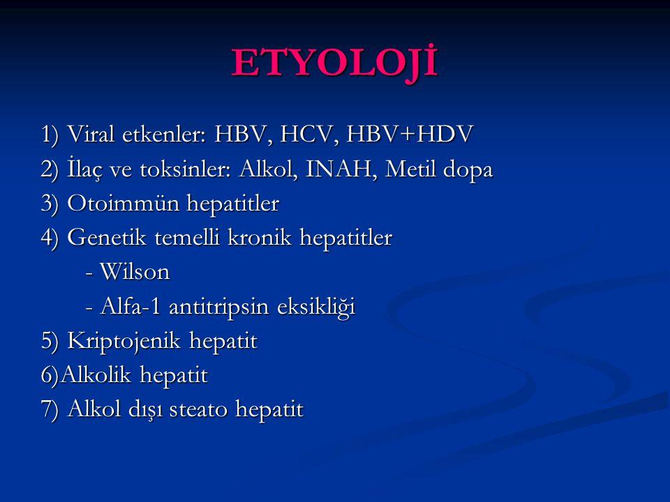 KRONİK B HEPATİTİNDE BEKLENEN SEROLOJİ - Hbs Ag (+) - Anti Hbs (-) - Anti Hbc Ig G (+) - Anti Hbc Ig M akut alevlenmede (+) - Hbe Ag %30 (+) Gençlerde pozitif olma eğiliminde - Anti Hbe %70 (+), HBV DNA (+)