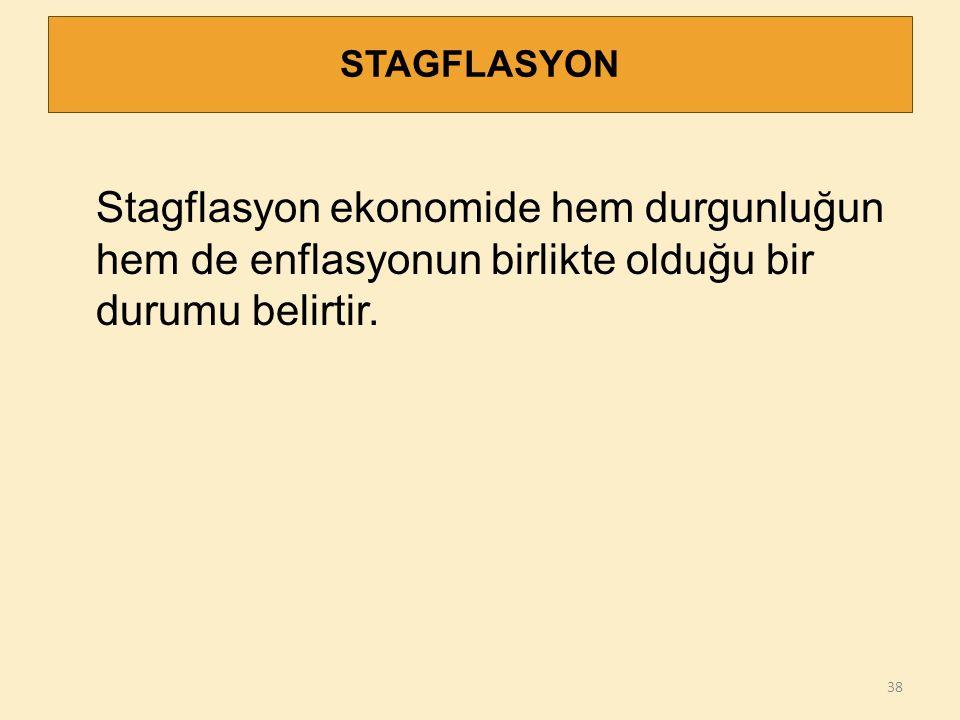 STAGFLASYON 38 Stagflasyon ekonomide hem durgunluğun hem de enflasyonun birlikte olduğu bir durumu belirtir.