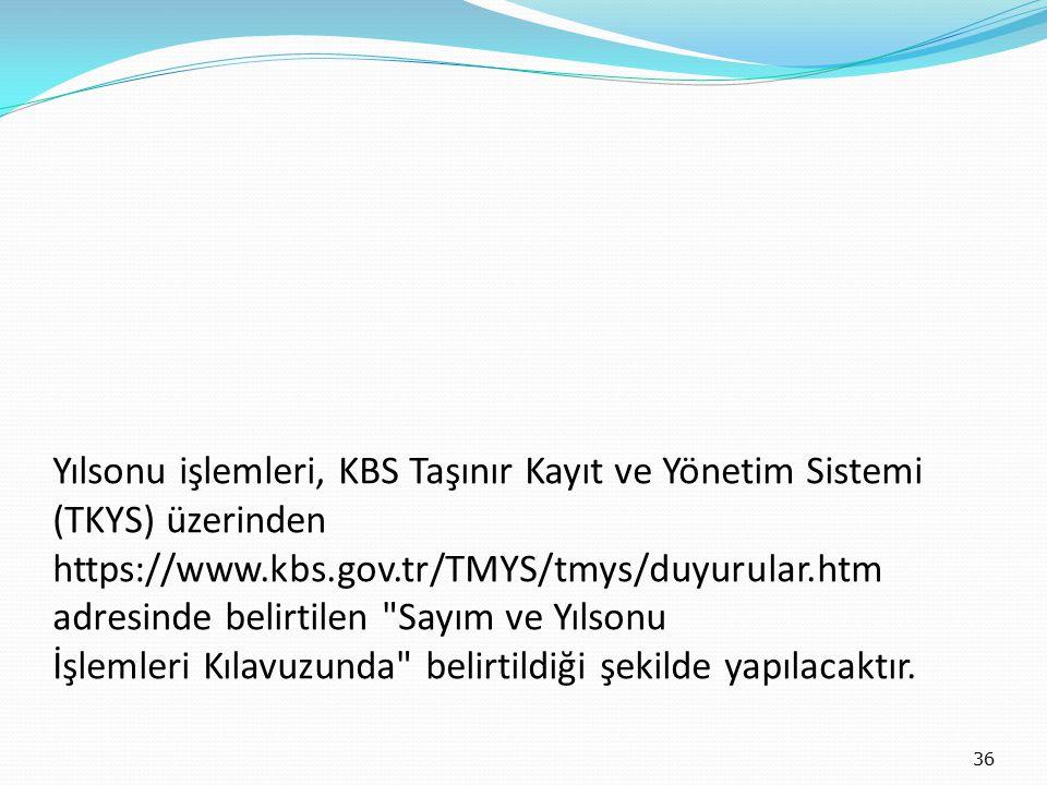 Yılsonu işlemleri, KBS Taşınır Kayıt ve Yönetim Sistemi (TKYS) üzerinden https://www.kbs.gov.tr/TMYS/tmys/duyurular.htm adresinde belirtilen