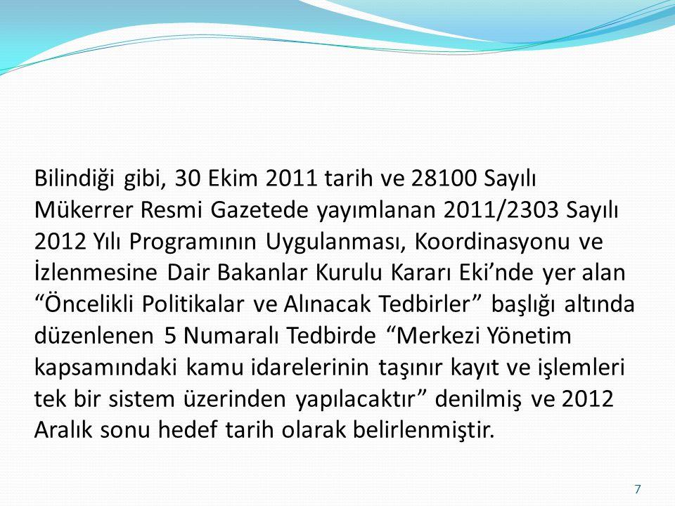 Bilindiği gibi, 30 Ekim 2011 tarih ve 28100 Sayılı Mükerrer Resmi Gazetede yayımlanan 2011/2303 Sayılı 2012 Yılı Programının Uygulanması, Koordinasyon