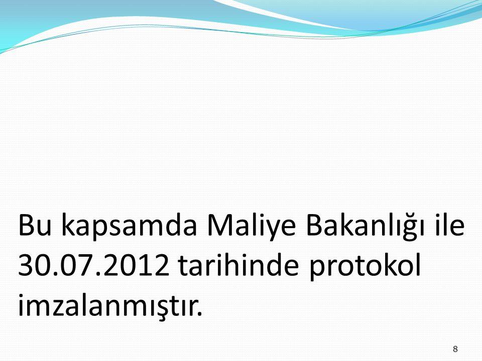 Bu kapsamda Maliye Bakanlığı ile 30.07.2012 tarihinde protokol imzalanmıştır. 8
