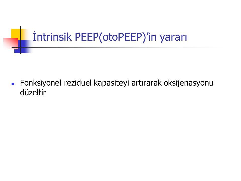 İntrinsik PEEP(otoPEEP)'in yararı Fonksiyonel reziduel kapasiteyi artırarak oksijenasyonu düzeltir
