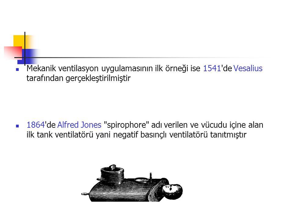 Mekanik ventilasyon uygulamasının ilk örneği ise 1541'de Vesalius tarafından gerçekleştirilmiştir 1864'de Alfred Jones