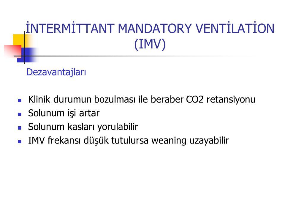 İNTERMİTTANT MANDATORY VENTİLATİON (IMV) Dezavantajları Klinik durumun bozulması ile beraber CO2 retansiyonu Solunum işi artar Solunum kasları yorulab