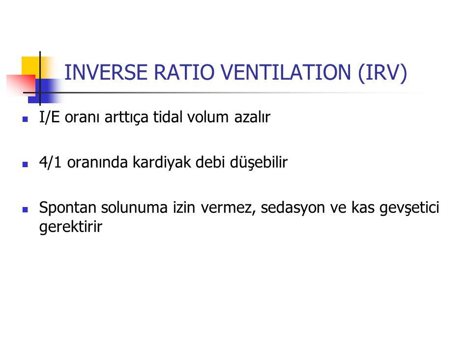 INVERSE RATIO VENTILATION (IRV) I/E oranı arttıça tidal volum azalır 4/1 oranında kardiyak debi düşebilir Spontan solunuma izin vermez, sedasyon ve ka