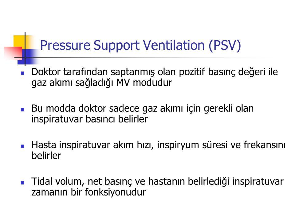 Pressure Support Ventilation (PSV) Doktor tarafından saptanmış olan pozitif basınç değeri ile gaz akımı sağladığı MV modudur Bu modda doktor sadece ga