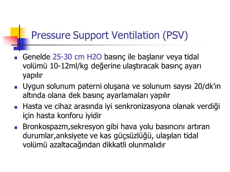 Pressure Support Ventilation (PSV) Genelde 25-30 cm H2O basınç ile başlanır veya tidal volümü 10-12ml/kg değerine ulaştıracak basınç ayarı yapılır Uyg