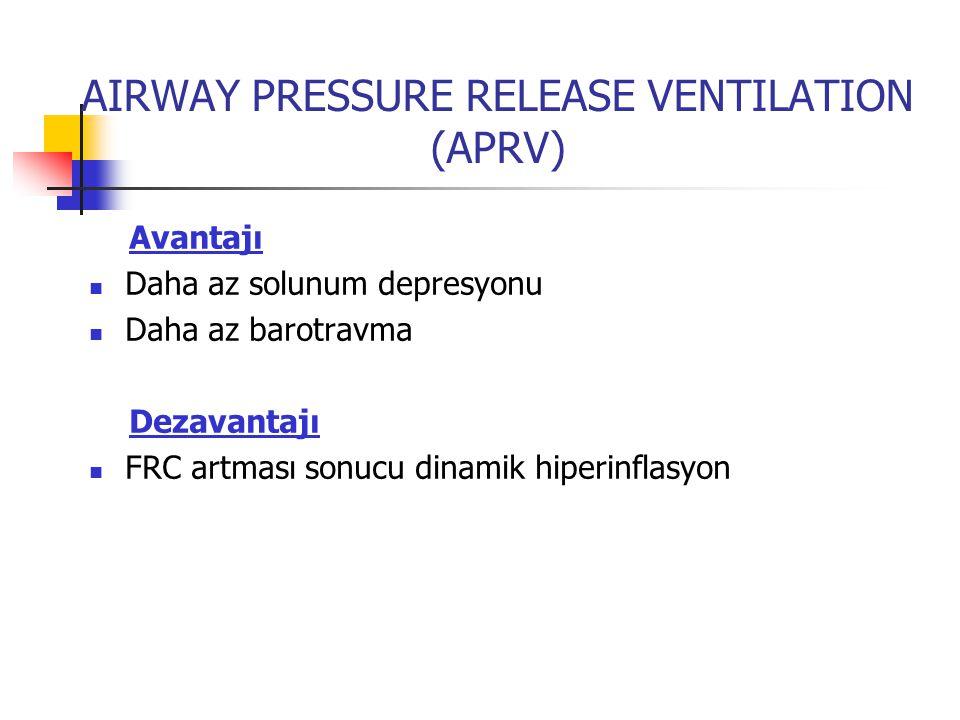 AIRWAY PRESSURE RELEASE VENTILATION (APRV) Avantajı Daha az solunum depresyonu Daha az barotravma Dezavantajı FRC artması sonucu dinamik hiperinflasyo