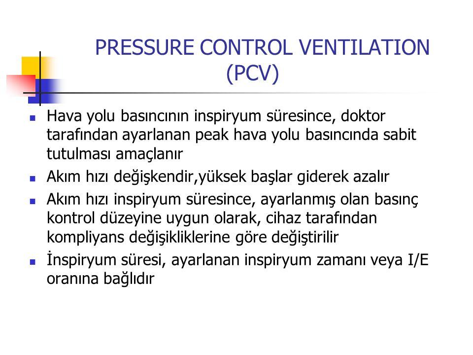 PRESSURE CONTROL VENTILATION (PCV) Hava yolu basıncının inspiryum süresince, doktor tarafından ayarlanan peak hava yolu basıncında sabit tutulması ama