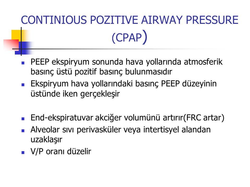 CONTINIOUS POZITIVE AIRWAY PRESSURE (CPAP ) PEEP ekspiryum sonunda hava yollarında atmosferik basınç üstü pozitif basınç bulunmasıdır Ekspiryum hava y