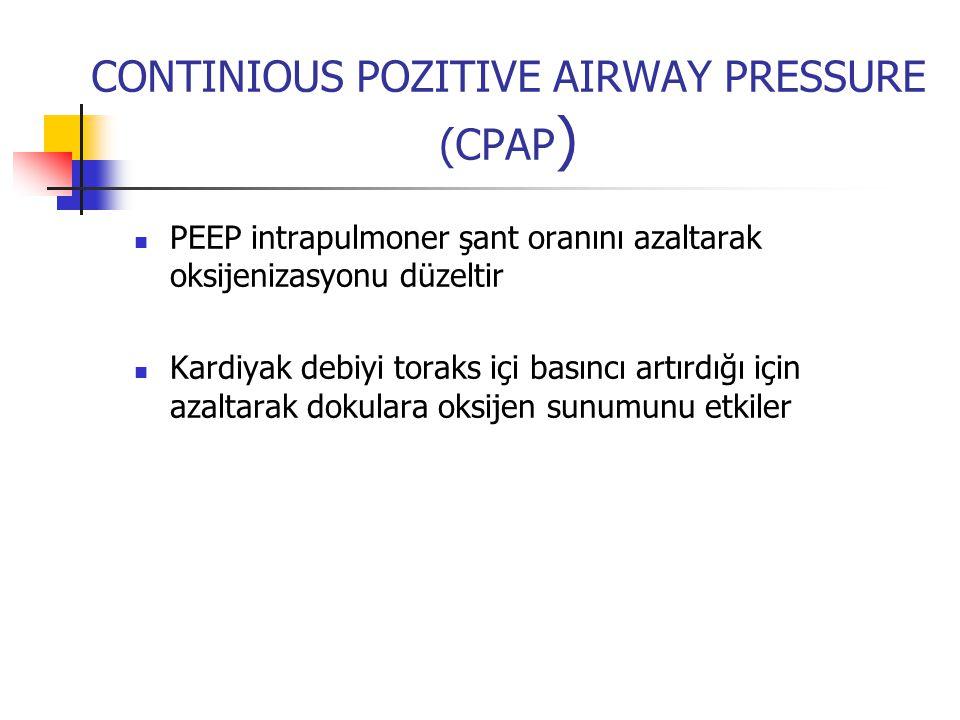CONTINIOUS POZITIVE AIRWAY PRESSURE (CPAP ) PEEP intrapulmoner şant oranını azaltarak oksijenizasyonu düzeltir Kardiyak debiyi toraks içi basıncı artı