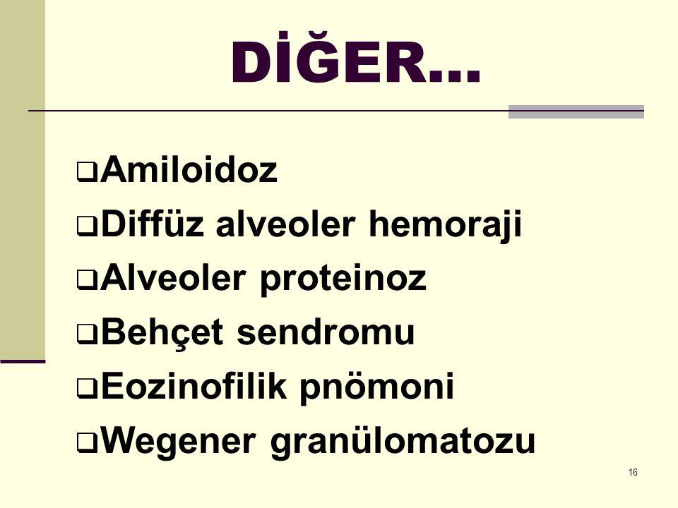 16 DİĞER…  Amiloidoz  Diffüz alveoler hemoraji  Alveoler proteinoz  Behçet sendromu  Eozinofilik pnömoni  Wegener granülomatozu