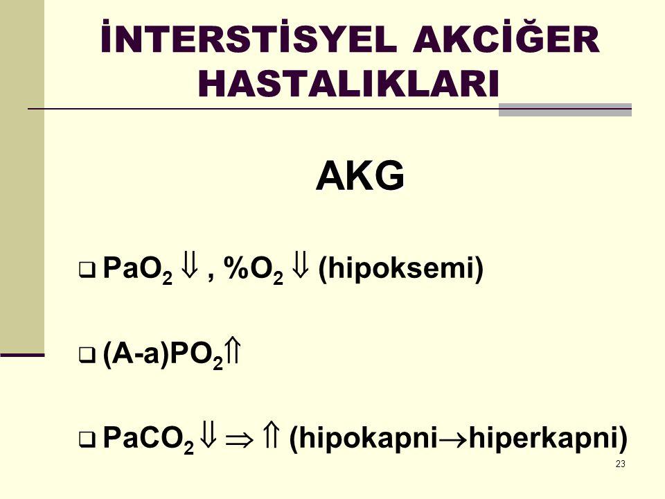 23 İNTERSTİSYEL AKCİĞER HASTALIKLARI AKG  PaO 2 , %O 2  (hipoksemi)  (A-a)PO 2   PaCO 2    (hipokapni  hiperkapni)