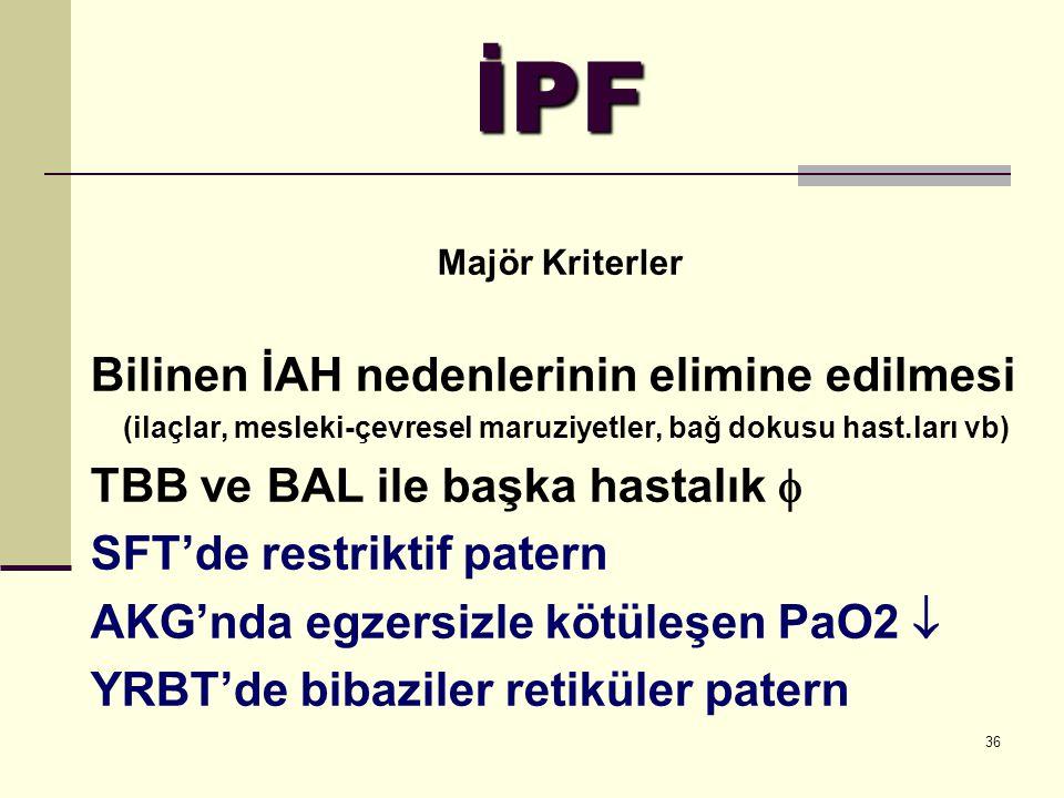 36 İPF Majör Kriterler Bilinen İAH nedenlerinin elimine edilmesi (ilaçlar, mesleki-çevresel maruziyetler, bağ dokusu hast.ları vb) TBB ve BAL ile başk