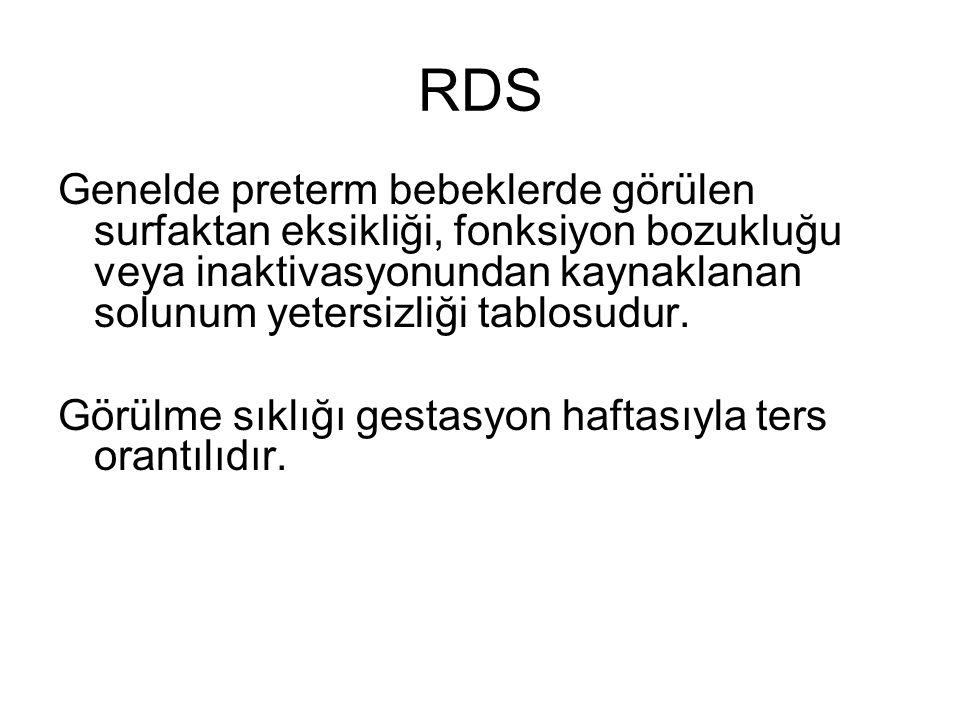 RDS Genelde preterm bebeklerde görülen surfaktan eksikliği, fonksiyon bozukluğu veya inaktivasyonundan kaynaklanan solunum yetersizliği tablosudur. Gö