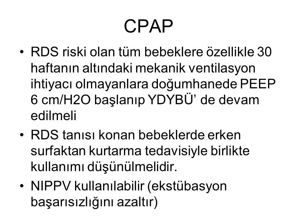 CPAP RDS riski olan tüm bebeklere özellikle 30 haftanın altındaki mekanik ventilasyon ihtiyacı olmayanlara doğumhanede PEEP 6 cm/H2O başlanıp YDYBÜ' d