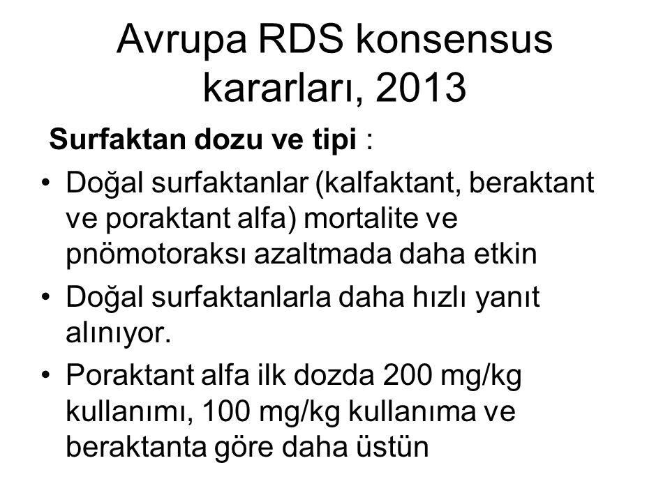 Avrupa RDS konsensus kararları, 2013 Surfaktan dozu ve tipi : Doğal surfaktanlar (kalfaktant, beraktant ve poraktant alfa) mortalite ve pnömotoraksı a
