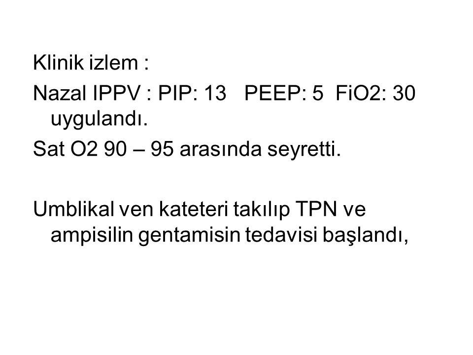 Klinik izlem : Nazal IPPV : PIP: 13 PEEP: 5 FiO2: 30 uygulandı. Sat O2 90 – 95 arasında seyretti. Umblikal ven kateteri takılıp TPN ve ampisilin genta